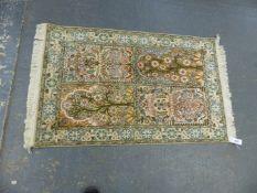AN ORIENTAL RUG OF PERSIAN GARDEN DESIGN 131 x 76cms.