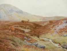 ATTRIBUTED TO V.BALFOUR-BROWNE. (1880-1963) ARR. DEER IN THE HIGHLANDS, POSSIBLY SIGNED UNDER THE