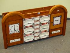 A CZECHOSLOVAK WOOD AND POTTERY WALL HANGING KITCHEN CABINET, THE DITMAR URBACH ART DECO POTTERY