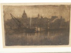 JOSEPH PENNELL. (1857-1926) THREE ATMOSPHERIC LONDON THAMES VIEWS, PENCIL SIGNED ETCHINGS. 23 x
