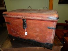 BRIGADIER FARRAN'S LEATHER TRUNK WITH IRON CLASP, HANDLES AND STRAPPED CORNERS, TWO RINGS ABOVE