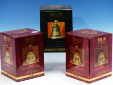 WHISKY. BELLS CHRISTMAS DECANTER 1996 EDITION, 2 x BOTTLES, BOXED TOGETHER WITH 1995, 1 x BOTTLE,
