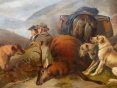 J.W.MORRIS. 19th.C.ENGLISH SCHOOL. HUNTERS AT REST, SIGNED OIL ON CANVAS. 77 x 127cms.