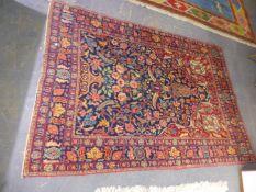 AN ANTIQUE PERSIAN TABRIZ PRAYER RUG 215 x 153cms.
