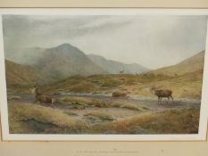 AFTER V.BALFOUR-BROWNE. (1880-1963) SIX COLOUR PRINTS OF DEER IN THE HIGHLANDS, EACH PENCIL