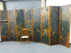 AN IMPRESSIVE PAIR OF VICTORIAN AESTHETIC FOUR FOLD SCREENS WITH HAND PAINTED LEATHER PANELS DEPICT
