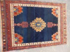 AN ANTIQUE PERSIAN AFSHAR / SENNEH RUG 161 x 111cms.