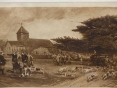 A VINTAGE PENCIL SIGNED PRINT OF A ROWING REGATTA AT WINDSOR. 48 x 65cms TOGETHER WITH SEVEN OTHER