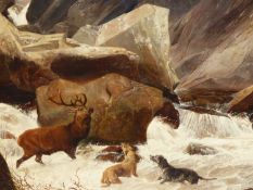 ATTRIBUTED TO RICHARD ANSDELL. (1815-1885) THE STAG AT BAY, OIL ON CANVAS.