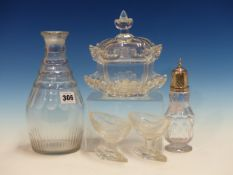 A PAIR OF CUT CLEAR GLASS NAVETTE SALTS, A CARAFE, A SWEETMEAT COVERED BOWL AND STAND AND A SHAKER
