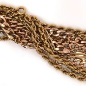 THREE 9ct GOLD CHAINS TO INCLUDE A 63cm ROPE STYLE, A 52cm CURB, AND A 59cm FETTER CHAIN. GROSS