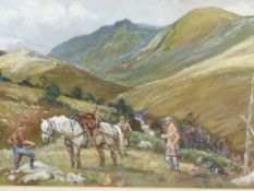 20th.C.ENGLISH SCHOOL. THE END OF THE DAY, SIGNED INDISTINCTLY, WATERCOLOUR. 33 x 49cms.