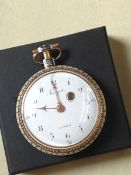 """A FINE EARLY 19TH CENTURY POCKET WATCH. SINGLE FUSEE TIME PIECE MOVEMENT BEARING THE NAMING """"BREGUET"""