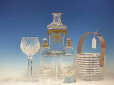 WATERFORD, ROSENTHAL, ST LOUIS AND OTHER CLEAR GLASS TO INCLUDE, A GILT CARAFE, AN ICE BUCKET AND