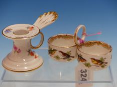 A MEISSEN FLOWER PAINTED CHAMBERSTICK. H 6cms. TOGETHER WITH A MEISSEN DOUBLE SALT PAINTED WITH