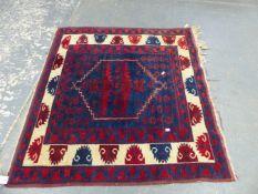 A TURKISH TRIBAL RUG 110 x 106cms.