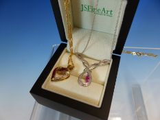 A 9ct WHITE GOLD GEMSET ARTICULATED DROP PENDANT TOGETHER WITH A 9ct GOLD GEMSET HEART PENDANT