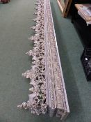 A LARGE MODERN 19th.C.GOTHIC STYLE PELMET WITH PAINTED DECORATION. W.379cms.