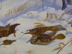 PHILIP RICKMAN. (1891-1982) ARR. WOODCOCKS IN SNOW, SIGNED AND DATED WATERCOLOUR WITH GALLERY