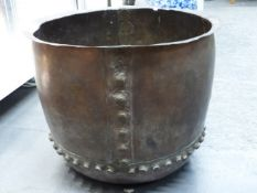 A COPPER COPPER, THE TWO SHEETS OF THE ROUNDED SIDES AND THE FOOT RIVETTED TOGETHER. Dia. 48.5cms.