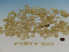 A COLLECTION OF BONE AND IVORY ALPHABET LETTERS.