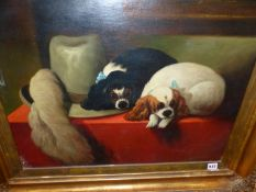 AFTER LANDSEER. TWO SPANIELS BESIDE A FEATHERED HAT, OIL ON CANVAS, FRAMED. 50 x 60cms.