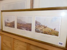 AFTER V.BALFOUR-BROWNE, (1880-1963) SIX COLOUR PRINTS OF DEER IN THE HIGHLANDS, FRAMED IN TWO GROUPS