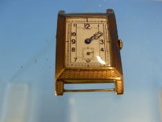 A 9ct GOLD ART DECO WATCH (HEAD ONLY) IMPORT MARK FOR GLASGOW, DATED 1927.