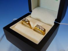AN 18ct GOLD TWO STONE BRILLIANT CUT DIAMOND CLAW SET RING FINGER SIZE M, TOGETHER WITH A THREE