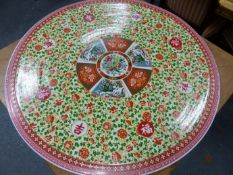 A CHINESE PORCELAIN TABLE, THE CIRCULAR REMOVABLE TOP AND COLUMNAR BASE DECORATED WITH BIRDS AND
