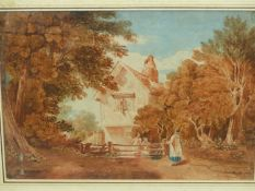 ATTRIBUTED TO ROBERT DIXON. (1780-1815) FIGURES BY A RURAL COTTAGE, WATERCOLOUR. 35 x 50cms.