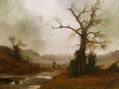 JOHN TRICKETT. (1933-****) ARR. IN THE RISING MIST, SIGNED OIL ON CANVAS. 61 x 76cms.