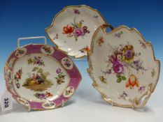 AN OUTSIDE DECORATED MEISSEN FLORAL PAINTED LEAF SHAPED DISH. W 22cms. ANOTHER COPENHAGEN. W