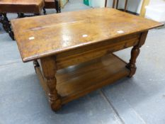 A BESPOKE TRADITIONALLY MADE OAK LOW COFFEE TABLE WITH UNDERTIER.