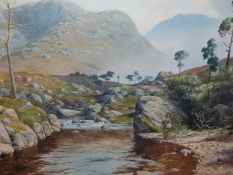 EARLY 20th.C.SCOTTISH SCHOOL. A HIGHLAND LOCH, SIGNED INDISTINCTLY WATERCOLOUR. 37 x 52cms