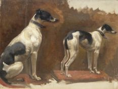 SIR ALFRED MUNNINGS. (1878-1959) TWO STUDIES OF A LURCHER, OIL ON CANVAS. 31 x 41cms.