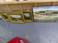 A SET OF THREE OIL PAINTINGS ON GILT FRAMES AND ONE OTHER..