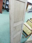 A SET OF SIX ARTS AND CRAFTS OAK SHUTTERS, LOUVRE SHUTTERS AND A PINE DOOR.