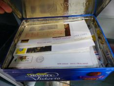A BOX OF STAMPS AND FIRST DAY COVERS