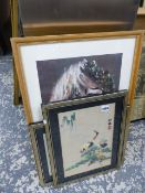 A PAIR OF ORIENTAL SILK PICTURES AND VARIOUS DECORATIVE PRINTS.