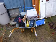 A WHEEL BARROW, VARIOUS TOOLS ETC.