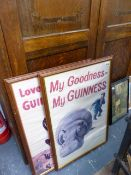 TWO GUINNESS POSTERS AND TWO PRINTS.