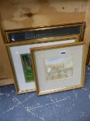 TWO 19th.C.PRINTS AND TWO WATERCOLOURS.