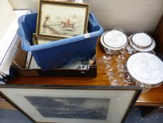 A SET OF HUNTING PRINTS, BIRD PRINTS, ETC TOGETHER WITH A SPODE PART DINNER SERVICE AND GLASSWARES.