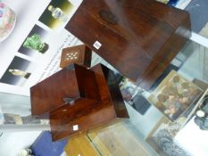 ROSEWOOD AND MAHOGANY WRITING SLOPES, A TEA CADDY AND ANOTHER BOX