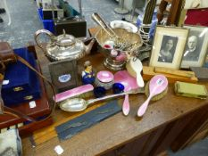 A SILVER AND ENAMEL DRESSING TABLE SET, VARIOUS PLATEDWARES, CUTLERY AND COLECTABLES.