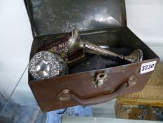 A SILVER SPECIMEN VASE, CASED SPECTACLES, FOUNTAIN PENS AND GAMES COUNTERS