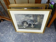A PAIR OF PRINTS AND ANOTHER OF A KING CHARLES SPANIEL.