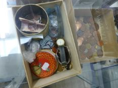 A COLLECTION OF COINS, THREE WRISTWATCHES AND A POCKET WATCH