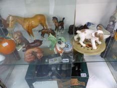 A COPENHAGEM DOG FIGURE, BESWICK AND OTHER DECORATIVE CHINAWARES.
